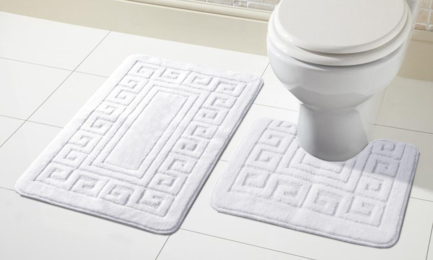 2 tlg. Antirutsch Bad Garnitur für Badezimmer Badematten Vorleger Matten  Set - Weiß