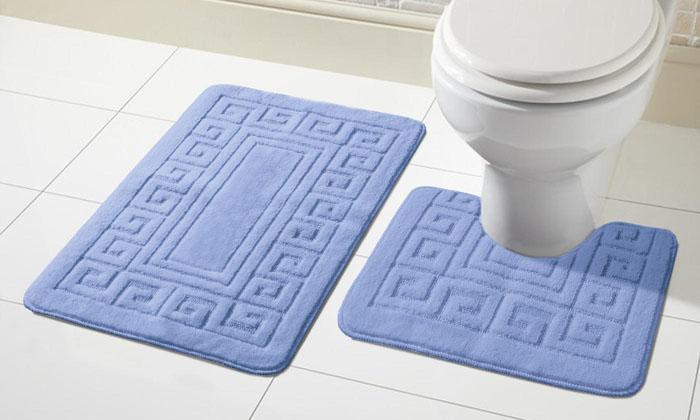 2 tlg. Antirutsch Bad Garnitur für Badezimmer Badematten Vorleger Matten  Set - Mid Blau